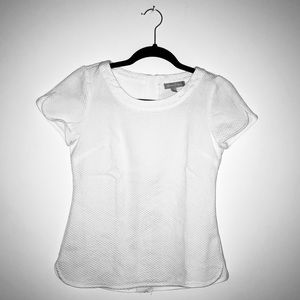 Pique Knit Blouse w/ Shell Back + Exposed Zipper